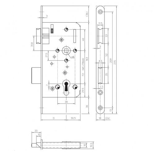 Telescopic door lining 70 (5pcs)